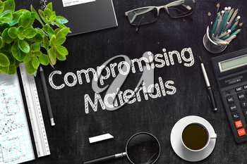 Compromising Materials. Business Concept Handwritten on Black Chalkboard. Top View Composition with Chalkboard and Office Supplies. 3d Rendering. Toned Image.