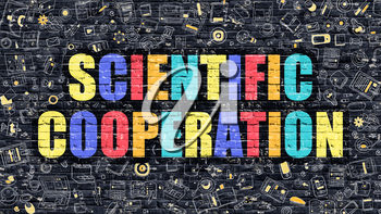 Scientific Cooperation Concept. Modern Illustration. Multicolor Scientific Cooperation Drawn on Dark Brick Wall. Doodle Icons. Doodle Style of  Scientific Cooperation Concept.