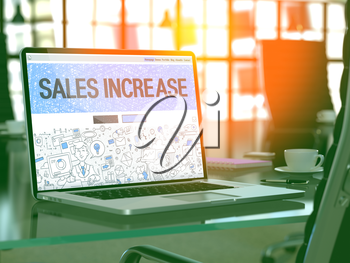 Sales Increase Concept. Closeup Landing Page on Laptop Screen in Doodle Design Style. On Background of Comfortable Working Place in Modern Office. Blurred, Toned Image. 3D Render.