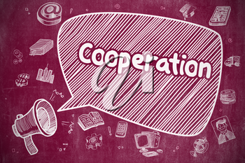 Speech Bubble with Phrase Cooperation Hand Drawn. Illustration on Red Chalkboard. Advertising Concept. Cooperation on Speech Bubble. Doodle Illustration of Yelling Loudspeaker. Advertising Concept.