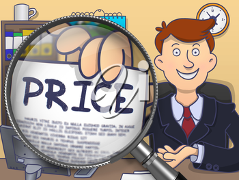 Officeman in Suit Looking at Camera and Showing a Paper with Inscription Price Concept through Magnifying Glass. Closeup View. Colored Modern Line Illustration in Doodle Style.