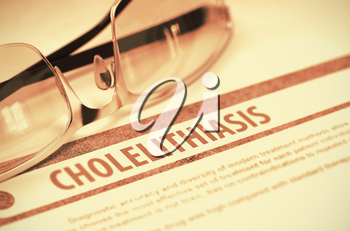 Cholelithiasis - Medical Concept with Blurred Text and Specs on Red Background. Selective Focus. 3D Rendering.