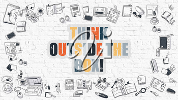 Think Outside the Box. Multicolor Inscription on White Brick Wall with Doodle Icons Around. Modern Style Illustration with Doodle Design Icons. Think Outside the Box on White Brickwall Background.