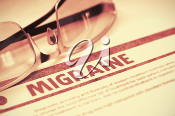 Migraine - Medicine Concept on Red Background with Blurred Text and Composition of Specs. Migraine - Medicine Concept with Blurred Text and Glasses on Red Background. Selective Focus. 3D Rendering.