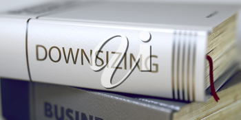 Book Title on the Spine - Downsizing. Closeup View. Stack of Books. Downsizing - Book Title on the Spine. Closeup View. Stack of Business Books. Toned Image with Selective focus. 3D Illustration.