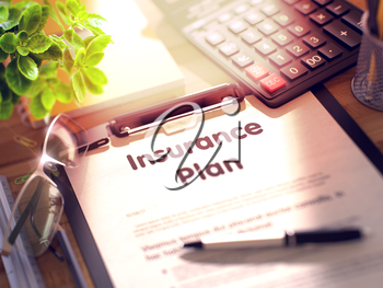 Insurance Plan on Clipboard. Office Desk with a Lot of Office Supplies. 3d Rendering. Blurred and Toned Illustration.