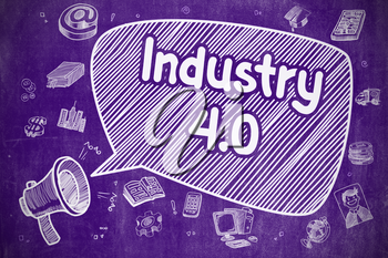 Industry 4.0 on Speech Bubble. Cartoon Illustration of Yelling Bullhorn. Advertising Concept. Screaming Horn Speaker with Wording Industry 4.0 on Speech Bubble. Doodle Illustration. Business Concept.