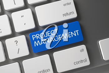 Project Management Concept: Computer Keyboard with Project Management, Selected Focus on Blue Enter Button. 3D Render.