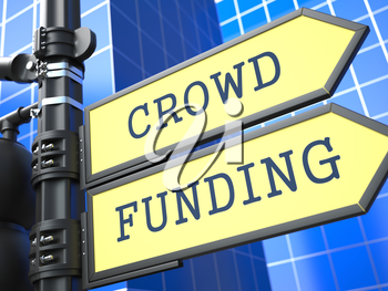 Crowd Funding on Yellow Roadsign on Blue Urban Background. Internet Concept.