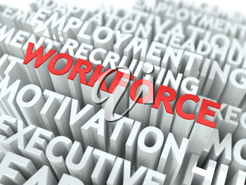 Workforce - Word in Red Color Surrounded by a Cloud of Words Gray. Wordcloud Concept.