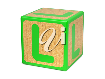 Letter L on Green Wooden Childrens Alphabet Block  Isolated on White. Educational Concept.