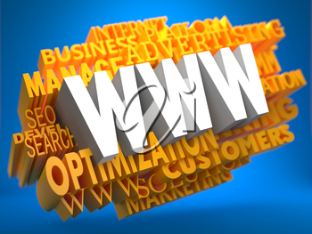 WWW - World Wide Web - on White Color on Cloud of Yellow Words on Blue Background.