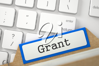 Grant Concept. Word on Blue Folder Register of Card Index. Closeup View. Blurred Image. 3D Rendering.