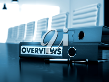 Overviews. Concept on Blurred Background. Overviews - Business Illustration. Folder with Inscription Overviews on Wooden Working Desktop. Overviews - Business Concept on Blurred Background. 3D Render.