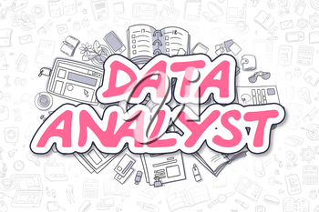 Magenta Inscription - Data Analyst. Business Concept with Doodle Icons. Data Analyst - Hand Drawn Illustration for Web Banners and Printed Materials.