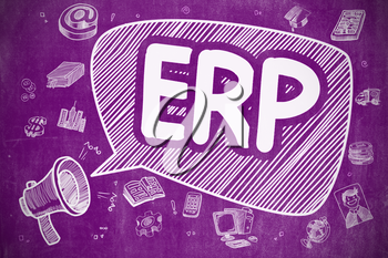 Business Concept. Mouthpiece with Text ERP - Enterprise Resource Planning. Cartoon Illustration on Purple Chalkboard.