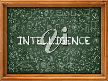 Intelligence - Hand Drawn on Green Chalkboard with Doodle Icons Around. Modern Illustration with Doodle Design Style.