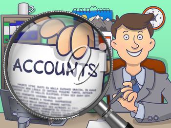 Officeman Shows Paper with Text Accounts. Closeup View through Lens. Multicolor Modern Line Illustration in Doodle Style.