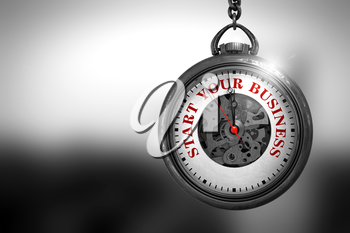 Business Concept: Pocket Watch with Start Your Business - Red Text on it Face. Start Your Business Close Up of Red Text on the Pocket Watch Face. 3D Rendering.