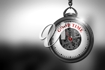 Business Concept: Vintage Pocket Clock with Good Time - Red Text on it Face. Good Time on Pocket Watch Face with Close View of Watch Mechanism. Business Concept. 3D Rendering.