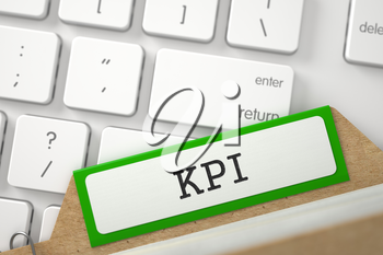 Green Folder Register with KPI Lays on White Modern Keypad. Close Up View. Selective Focus. 3D Rendering.