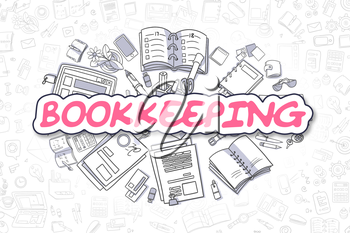 Business Illustration of Bookkeeping. Doodle Magenta Word Hand Drawn Cartoon Design Elements. Bookkeeping Concept.