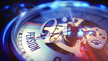 Pension. on Vintage Watch Face with CloseUp View of Watch Mechanism. Time Concept. Lens Flare Effect. Pocket Watch Face with Pension Text on it. Business Concept with Lens Flare Effect. 3D.