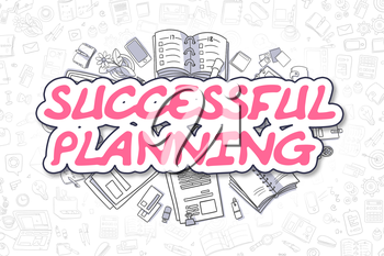 Successful Planning - Sketch Business Illustration. Magenta Hand Drawn Text Successful Planning Surrounded by Stationery. Doodle Design Elements.