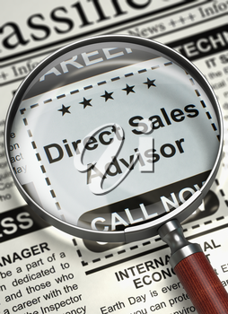 Direct Sales Advisor - Jobs Section Vacancy in Newspaper. Column in the Newspaper with the Vacancy of Direct Sales Advisor. Job Seeking Concept. Blurred Image with Selective focus. 3D Render.