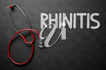 Medical Concept: Rhinitis Handwritten on Black Chalkboard. Top View of Red Stethoscope on Chalkboard. Medical Concept: Rhinitis - Text on Black Chalkboard with Red Stethoscope. 3D Rendering.