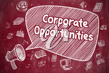 Business Concept. Loudspeaker with Wording Corporate Opportunities. Cartoon Illustration on Red Chalkboard.
