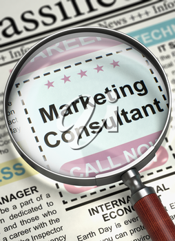Marketing Consultant. Newspaper with the Jobs Section Vacancy. Column in the Newspaper with the Vacancy of Marketing Consultant. Concept of Recruitment. Selective focus. 3D Render.
