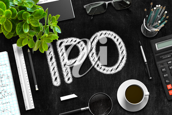 Business Concept - IPO Handwritten on Black Chalkboard. Top View Composition with Chalkboard and Office Supplies on Office Desk. 3d Rendering.