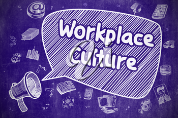 Speech Bubble with Wording Workplace Culture Doodle. Illustration on Blue Chalkboard. Advertising Concept.
