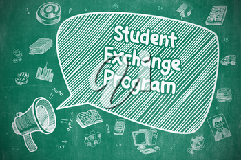 Student Exchange Program on Speech Bubble. Doodle Illustration of Shouting Mouthpiece. Advertising Concept.