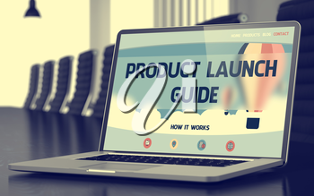 Product Launch Guide Concept. Closeup of Landing Page on Laptop Display in Modern Meeting Hall. Blurred Image. Selective focus. 3D Rendering.