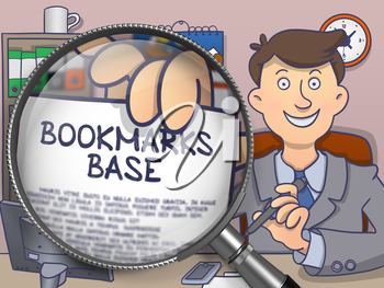 Bookmarks Base. Text on Paper in Business Man's Hand through Magnifying Glass. Colored Modern Line Illustration in Doodle Style.