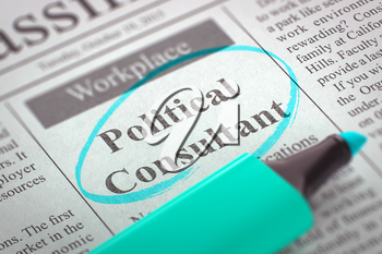 Newspaper with Classified Advertisement of Hiring Political Consultant. Blurred Image. Selective focus. Job Seeking Concept. 3D Render.