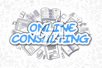 Online Consulting Doodle Illustration of Blue Inscription and Stationery Surrounded by Doodle Icons. Business Concept for Web Banners and Printed Materials.