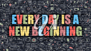 Multicolor Concept - Every Day is a New Beginning on Dark Brick Wall with Doodle Icons. Every Day is a New Beginning Business Concept. Every Day is a New Beginning on Dark Wall.