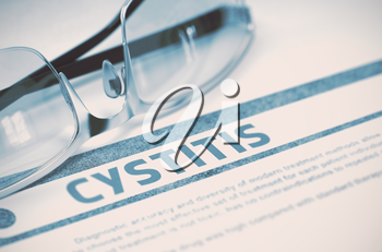 Cystitis - Medical Concept on Blue Background with Blurred Text and Composition of Glasses. Cystitis - Medicine Concept with Blurred Text and Glasses on Blue Background. Selective Focus. 3D Rendering.