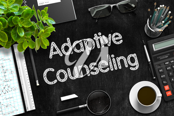 Adaptive Counseling Concept on Black Chalkboard. 3d Rendering.