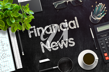 Top View of Office Desk with Stationery and Black Chalkboard with Business Concept - Financial News. 3d Rendering. Toned Illustration.