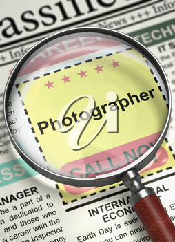 Newspaper with Small Advertising Photographer. Photographer - CloseUp View Of A Classifieds Through Magnifier. Job Search Concept. Blurred Image with Selective focus. 3D.