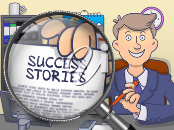 Success Stories through Magnifying Glass. Officeman Holds Out a Paper with Concept. Closeup View. Multicolor Doodle Style Illustration.
