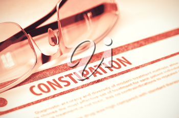 Diagnosis - Constipation. Medical Concept with Blurred Text and Glasses on Red Background. Selective Focus. 3D Rendering.