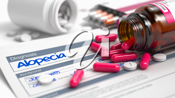 Alopecia Text in Anamnesis. Close Up View of Medical Concept. Alopecia - Handwritten Diagnosis in the Disease Extract. Medical Concept with Heap of Pills, Close View, Selective Focus. 3D Illustration.
