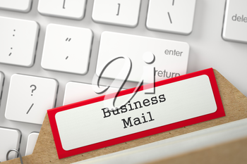 Business Mail written on Red Folder Index on Background of Modern Keyboard. Closeup View. Selective Focus. 3D Rendering.