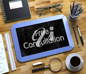 Free Consultation - Text on Small Chalkboard.Free Consultation Concept on Small Chalkboard. 3d Rendering.