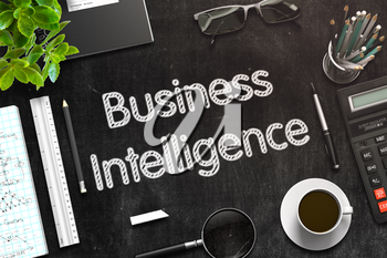Business Intelligence. Business Concept Handwritten on Black Chalkboard. Top View Composition with Chalkboard and Office Supplies. 3d Rendering. Toned Image.
